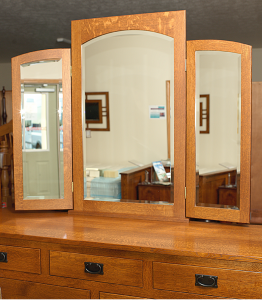 Tri-Fold Arched Mirror with Beveled Edge
