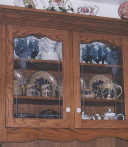 Grapes Engraved in Glass Cabinet Doors
