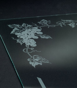Grapes Engraved in Glass Sheet