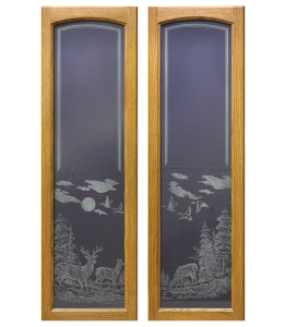 Gun Cabinet Doors showing Deer Scene #4